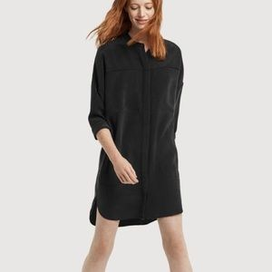 Kit and Ace All Buttoned Up Silk Shirt Dress Black